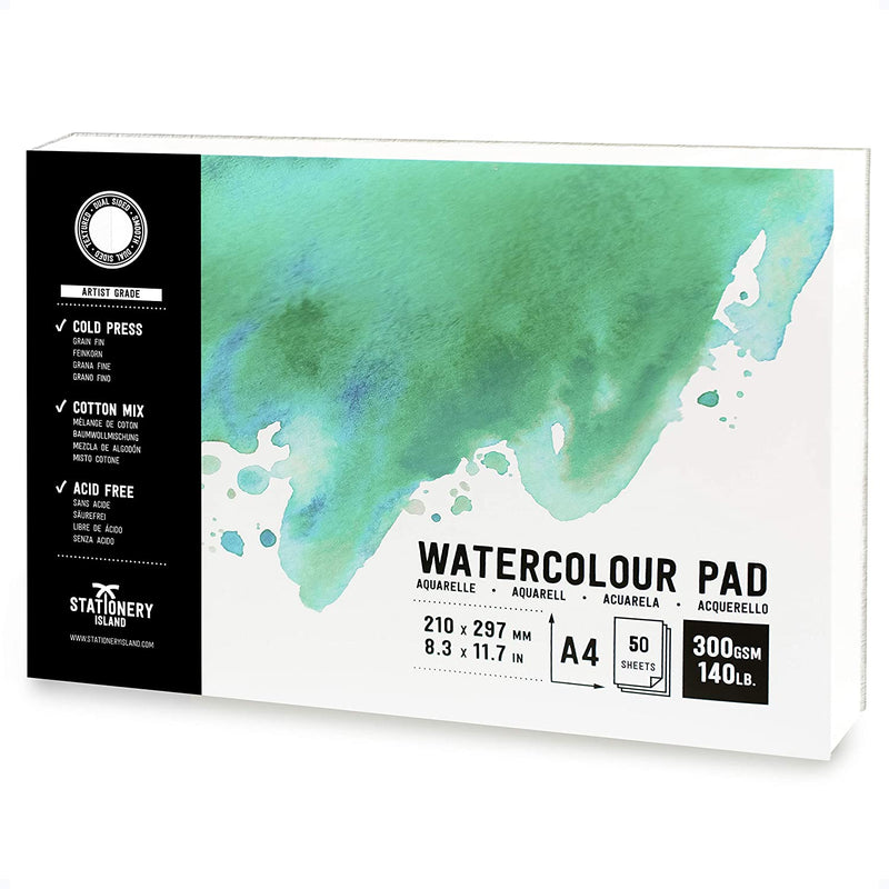 Watercolour Paper | Artist Grade | A4 | 300gsm Paper | 50 Pages
