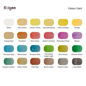 Ezigoo | Watercolour Paints Set Of 24 Colours + 1 Aqua Brush