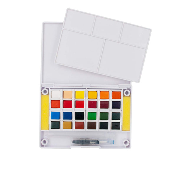 Ezigoo | Watercolour Set Of 24 Colours + 1 Aqua Brush