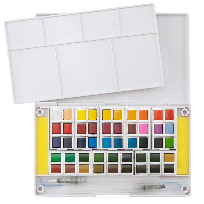 Ezigoo | Watercolour Set Of 48 Colours + 1 Aqua Brush