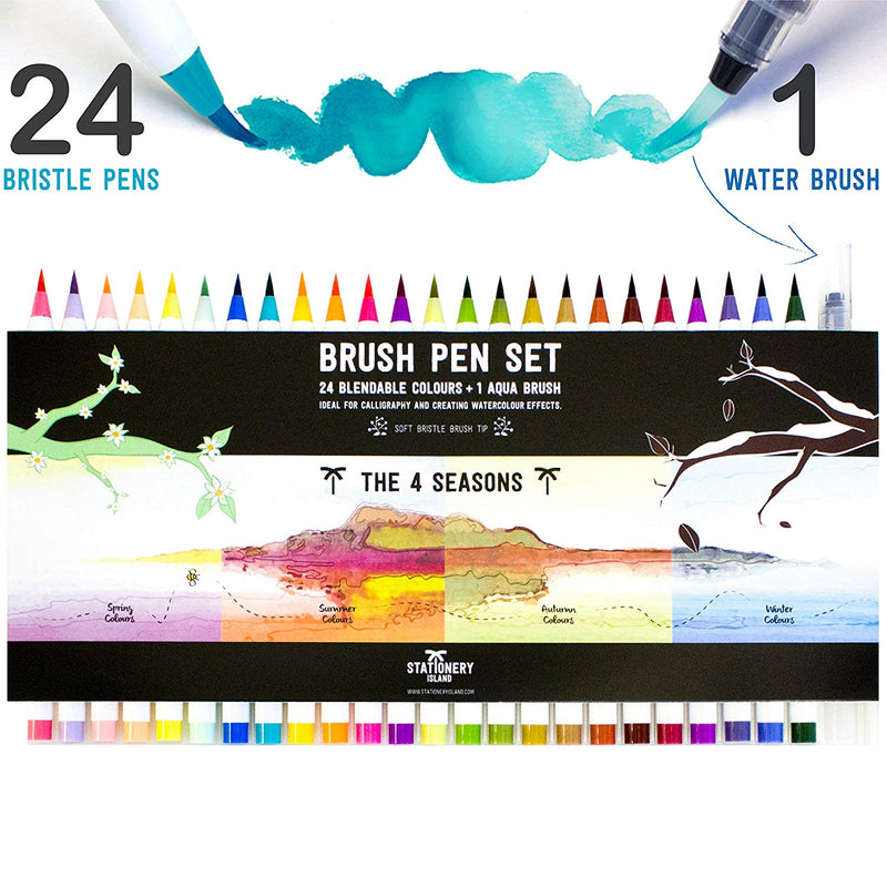 Brush Pens Pack Of 24 + 1 Aqua Brush | 4 Seasons Colours
