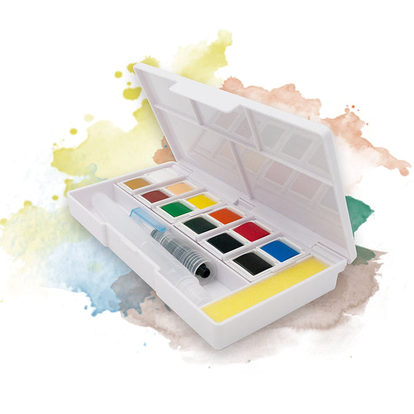 Ezigoo | Watercolour Set Of 12 Colours + 1 Aqua Brush