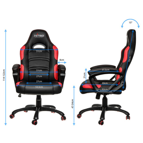 Nitro Concepts C80 Comfort Series Gaming Chair - Black/Red - Inertia Computers - 3