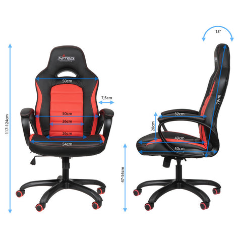 Nitro Concepts C80 Pure Series Gaming Chair - Black/Red - Inertia Computers - 2