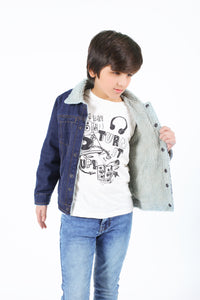 KIDS DENIM JACKET WITH FURR
