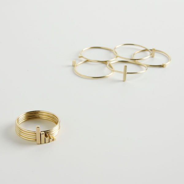 minrl fibonacci rings gold set