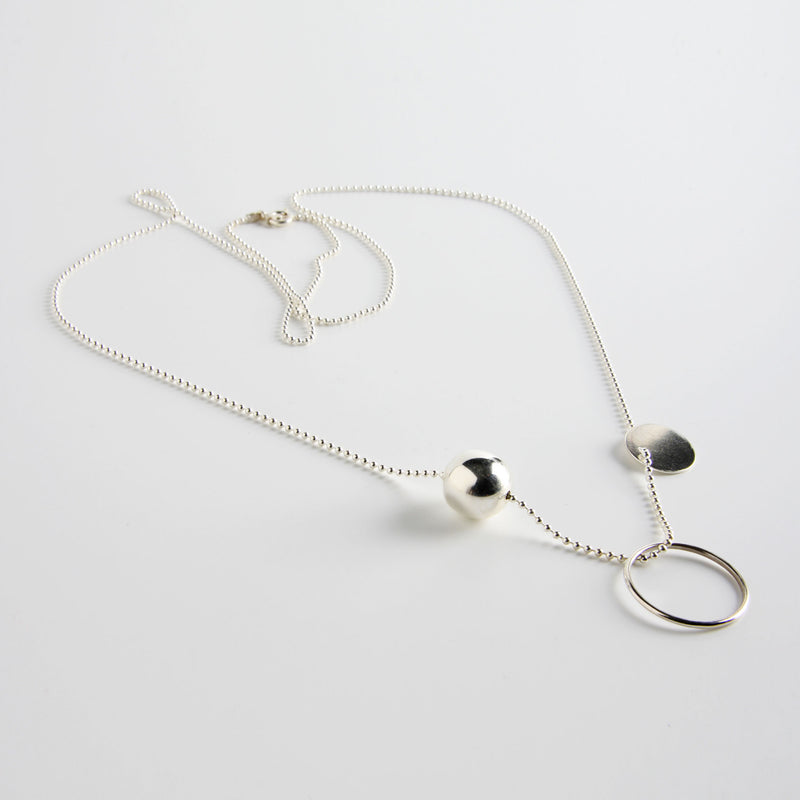 minrl geometric toys circle necklace silver long