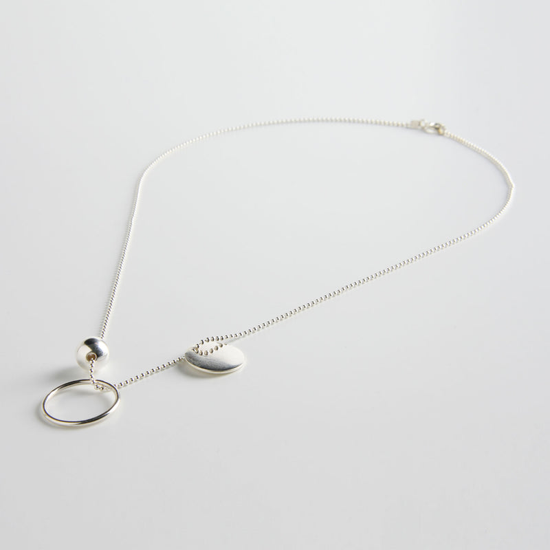 minrl geometric toys circle necklace silver short