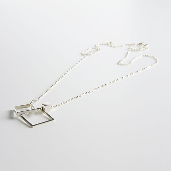 minrl geometric toys square necklace silver long