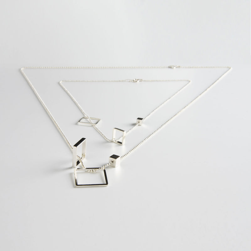minrl geometric toys square necklace silver short long