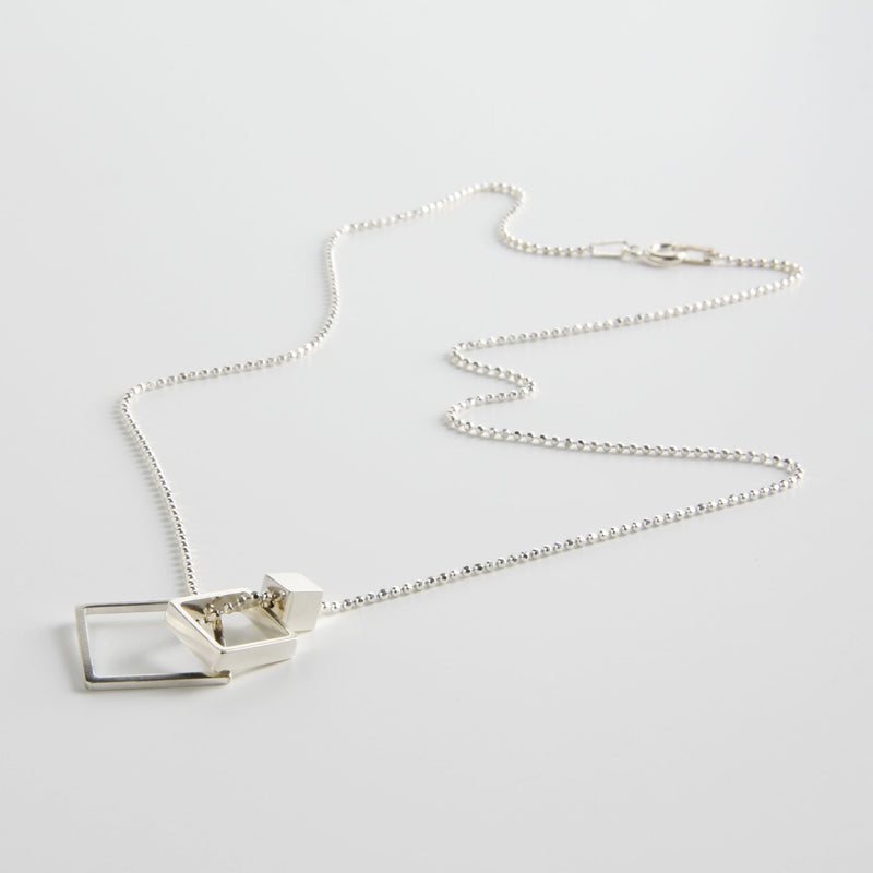 minrl geometric toys square necklace silver short