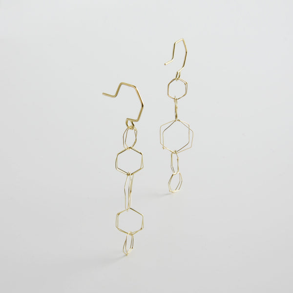 minrl hexagons air earrings gold