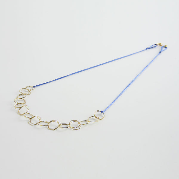 minrl hexagons air necklace gold silk