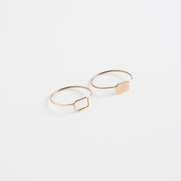 minrl shapes rings red gold mix rectangles