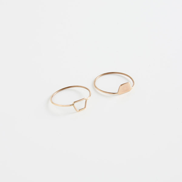 minrl shapes rings red gold mix trapezoid