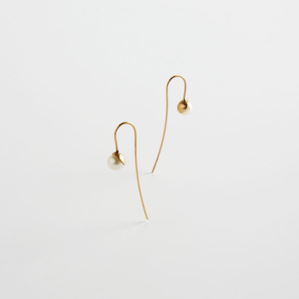 minrl snowdrop long earrings red gold