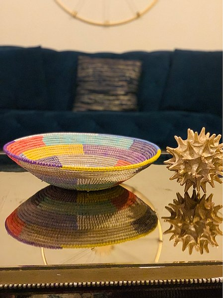 Multi Colored Sweet Grass Tray - Fily