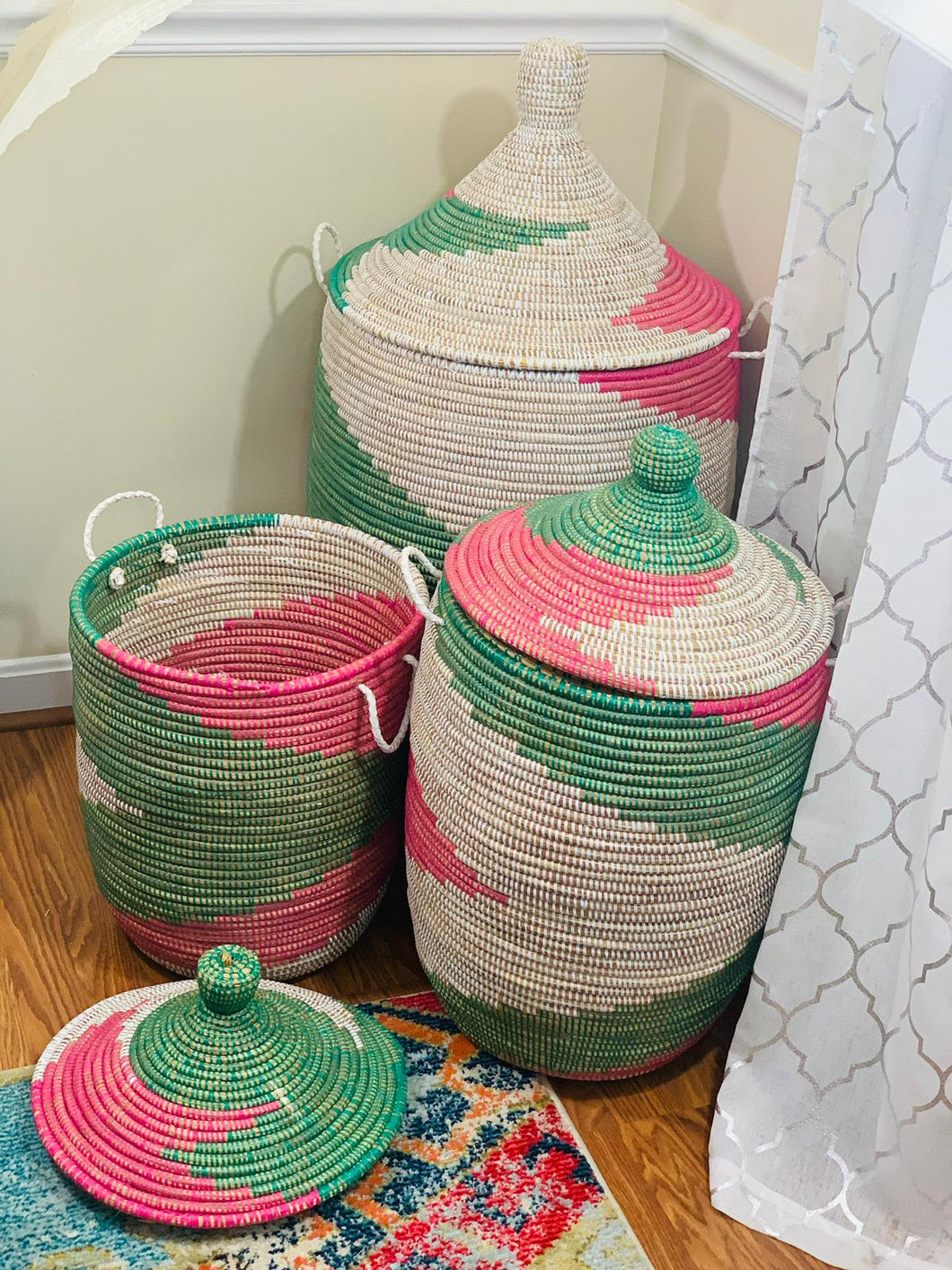 Pink and Green Storage Basket - Penda