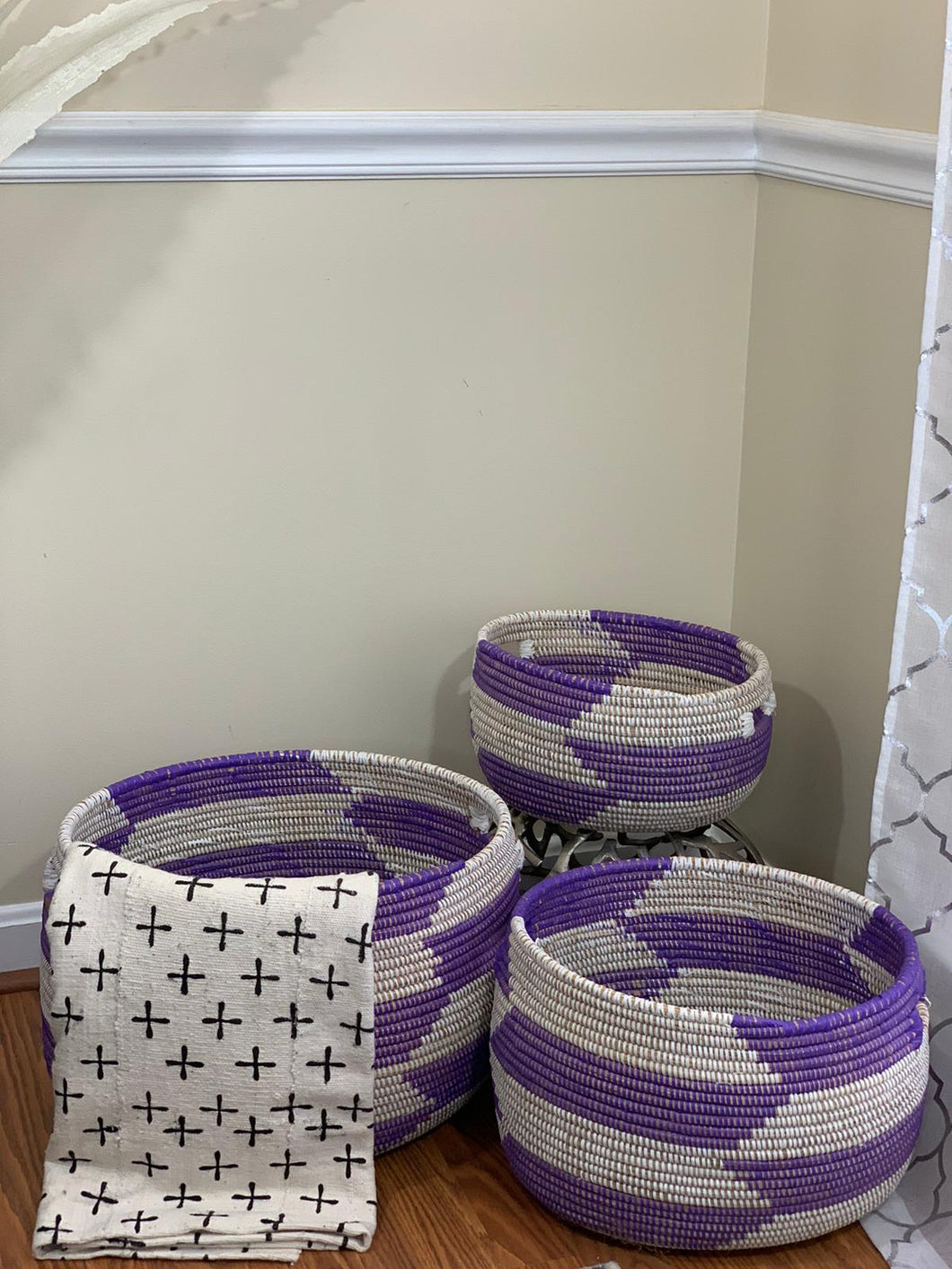 White and Purple Storage Basket - Kiney