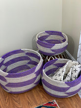 Load image into Gallery viewer, White and Purple Storage Basket - Kiney