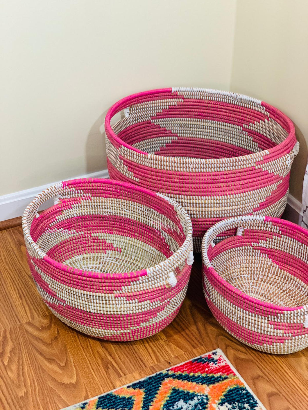 White and Pink Storage Basket - Anta