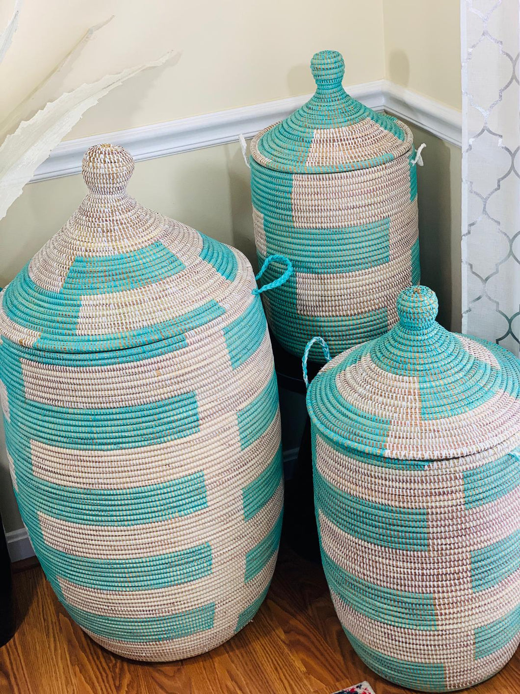Teal and White Storage Basket - Yandey