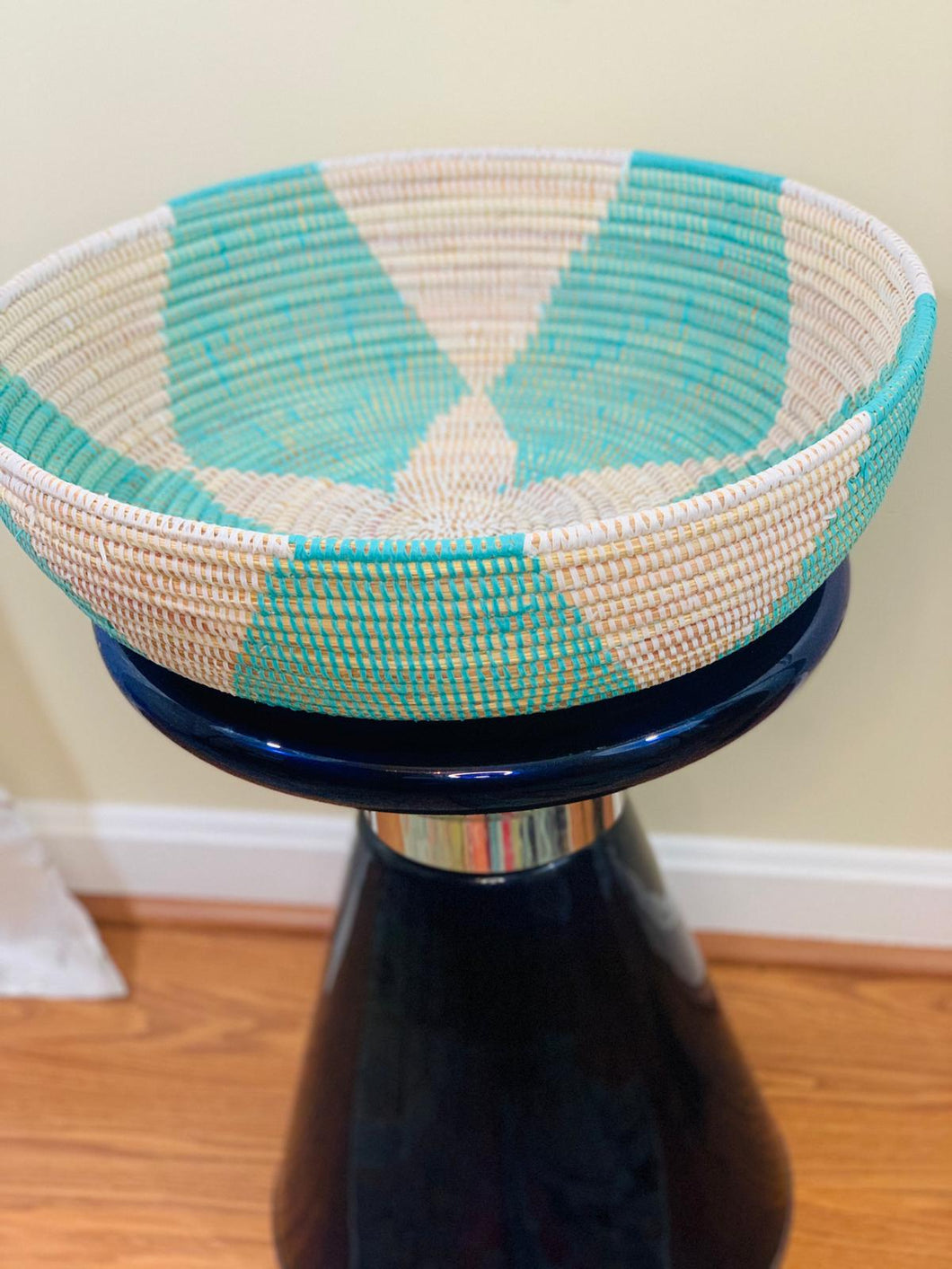 White and Teal Sweet Grass Bowl - Fily