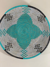 Load image into Gallery viewer, White Sweet Grass Bowl w/ Black and Teal Pattern - Ouley