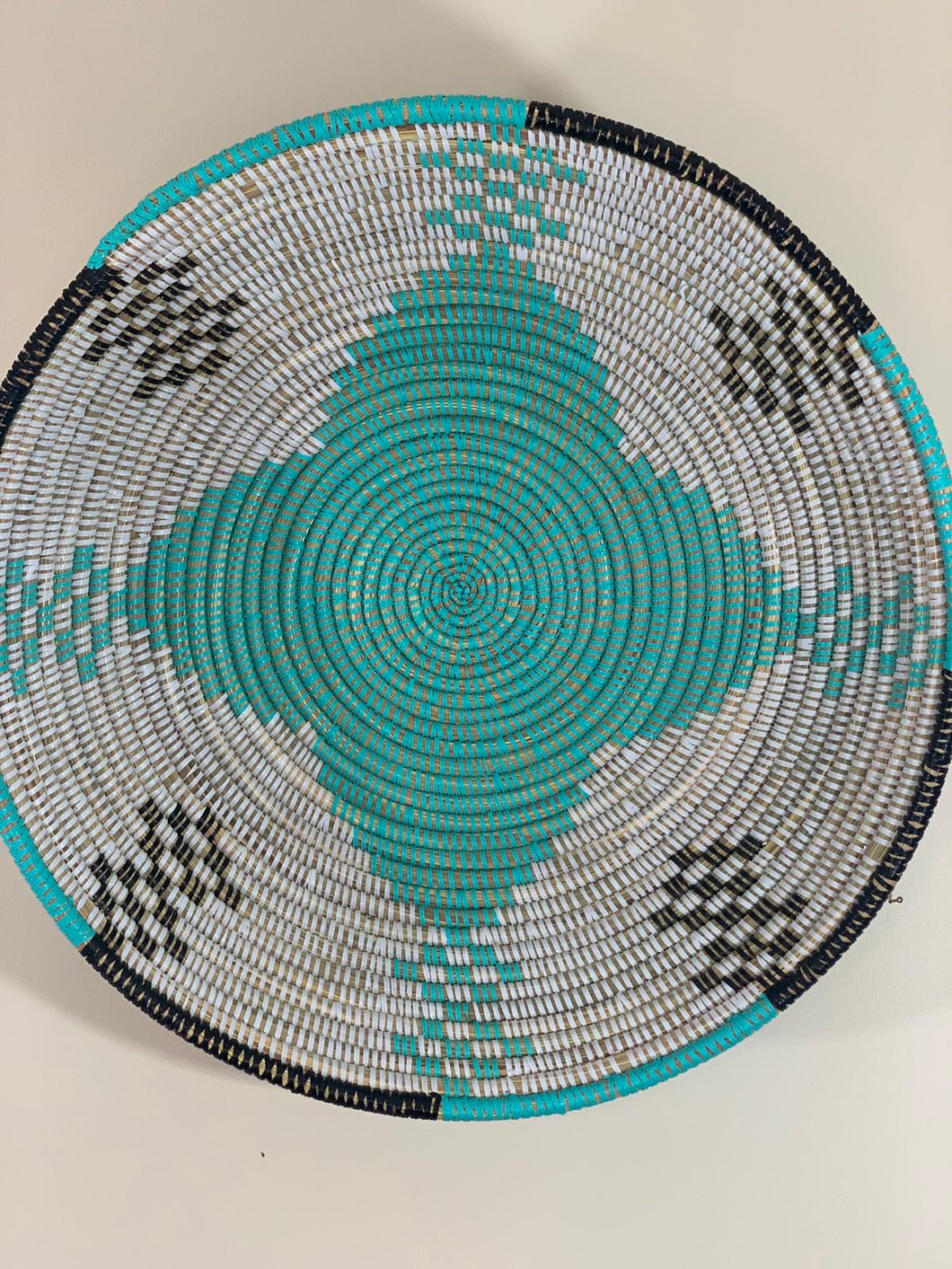 White Sweet Grass Bowl w/ Black and Teal Pattern - Ouley