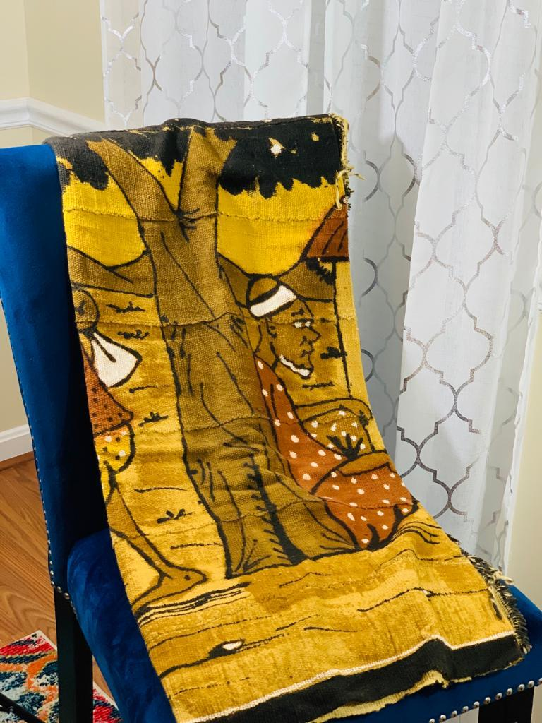 Yellow Mud Cloth Throw with graphics - Debo