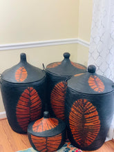 Load image into Gallery viewer, Black and Orange leather hamper - Mabo