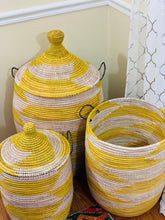 Load image into Gallery viewer, Yellow & White Lidded Hamper - Neta