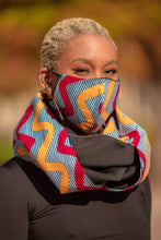 Load image into Gallery viewer, Pink, Yellow and Blue African Pattern Muffler w/ Face Mask - Yima