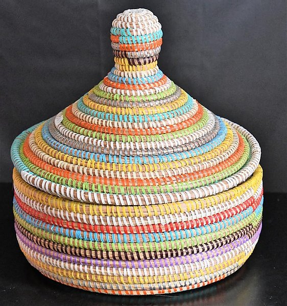 Multi Colored Oval Sweet grass Pot - Adja (2 sizes)