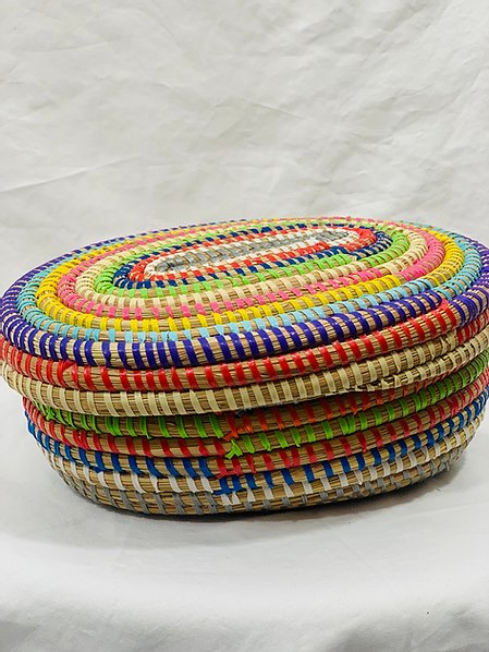 Multi Colored Oval Sweet grass Pot - 2 styles