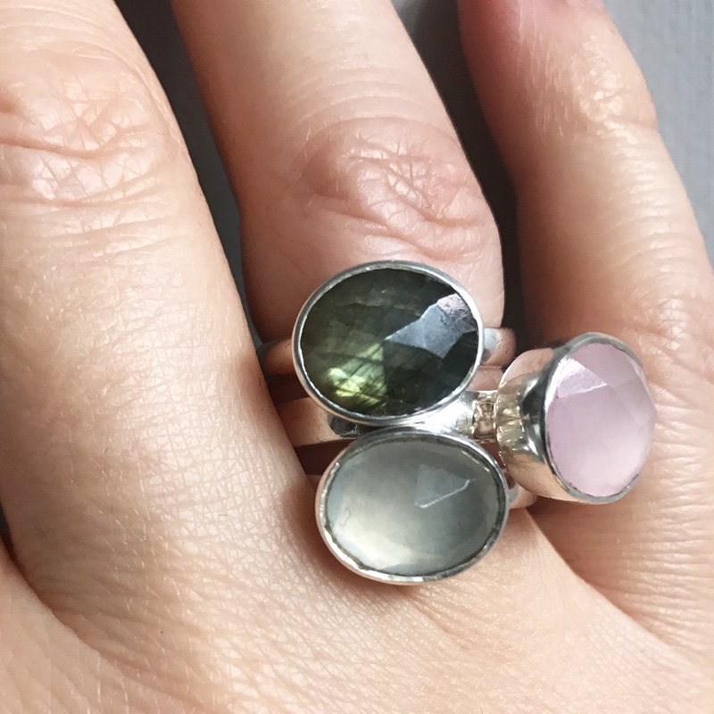 Adjustable pastel gemstone rings by SVP Jewellery