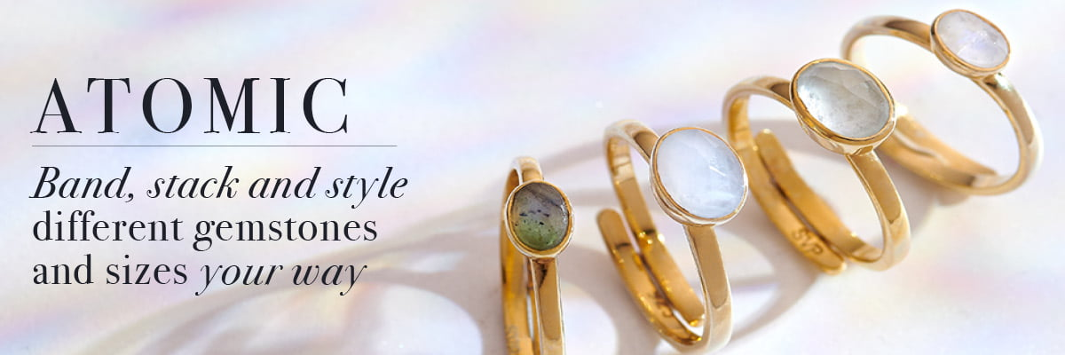 Atomic adjustable rings by SVP Jewellery. Band, stack and style different gemstones your way