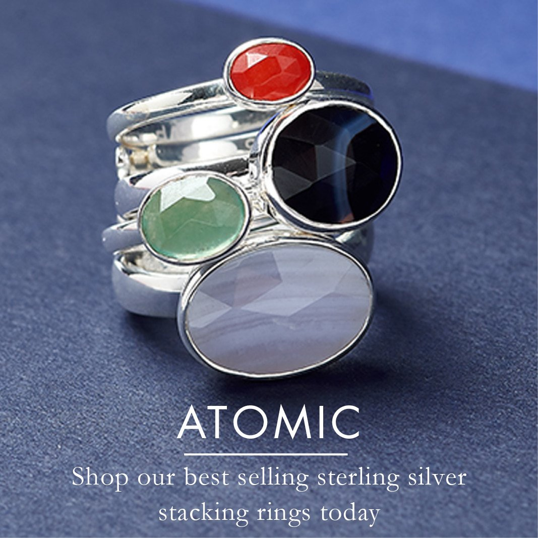 SVP Atomic stacking adjustable rings in sterling silver