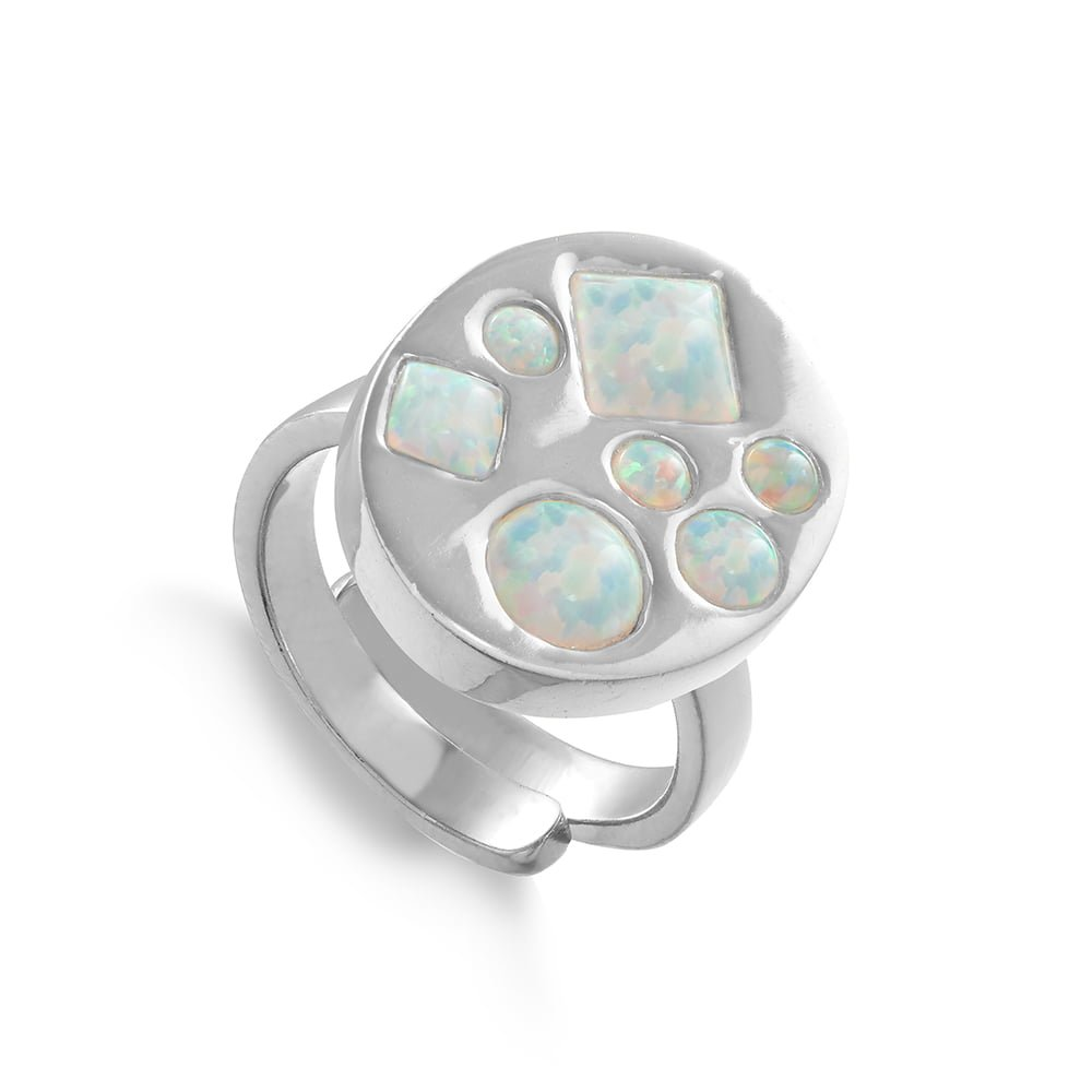 Disco Portrait SVP adjustable ring set with seven different size and shaped lab grown Australian Opals set in sterling silver