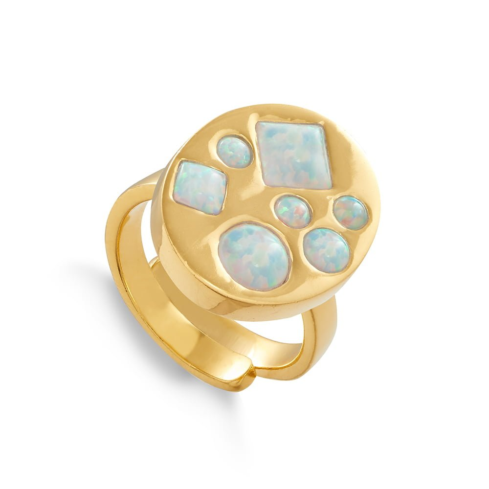 Disco Portrait SVP adjustable ring set with seven different size and shaped lab grown Australian Opals set in 18 carat gold vermeil