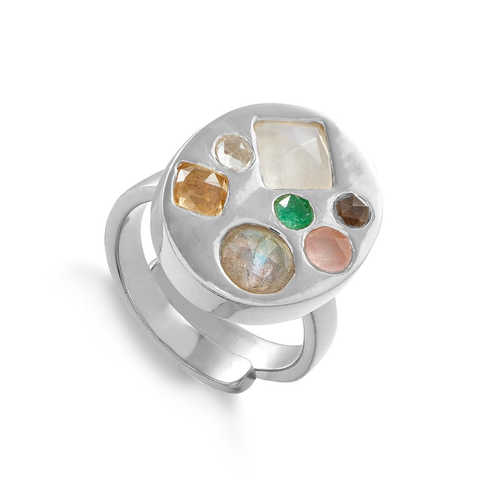Disco Portrait SVP adjustable ring set with seven different size and shaped mixed quartz set in sterling silver