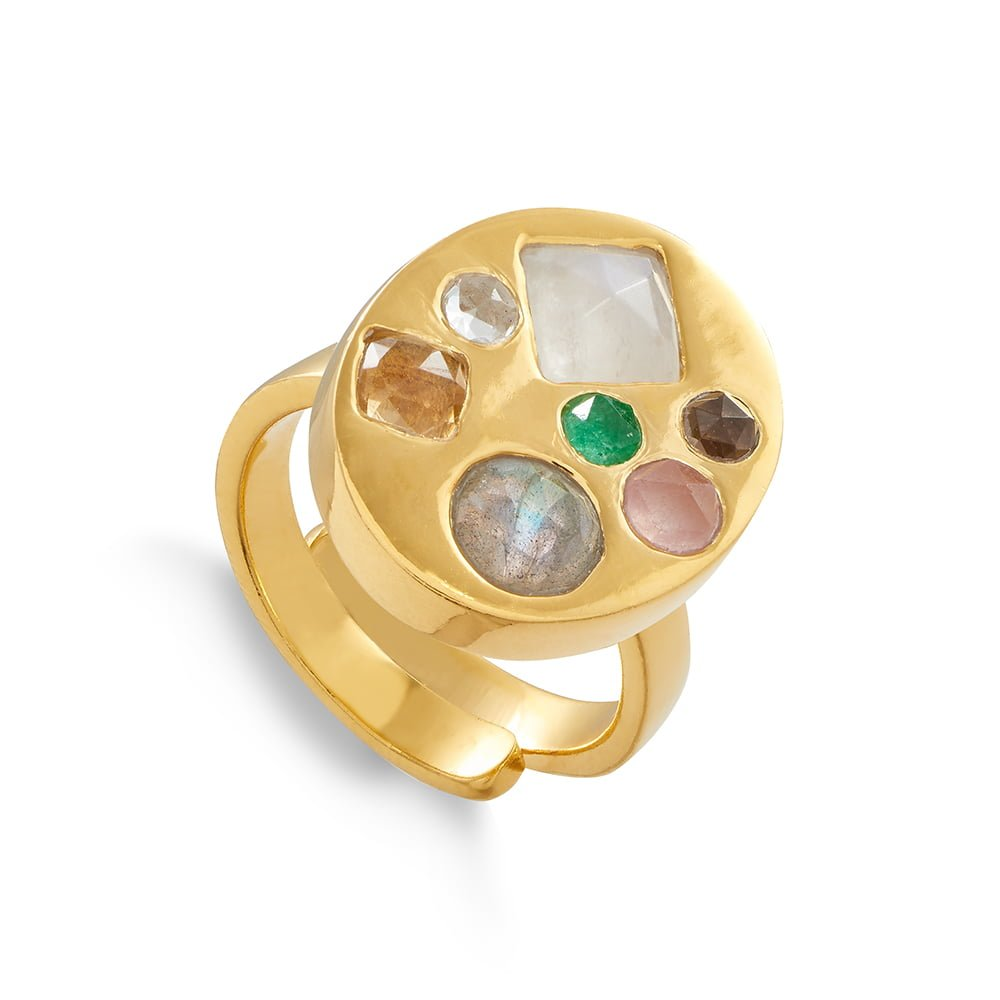 Disco Portrait SVP adjustable ring set with seven different size and shaped mixed quartz set in 18 carat gold vermeil
