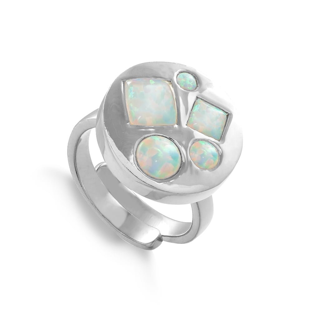 Headlight Disco SVP Adjustable Ring in Sterling Silver set with lab grown Australian Opals
