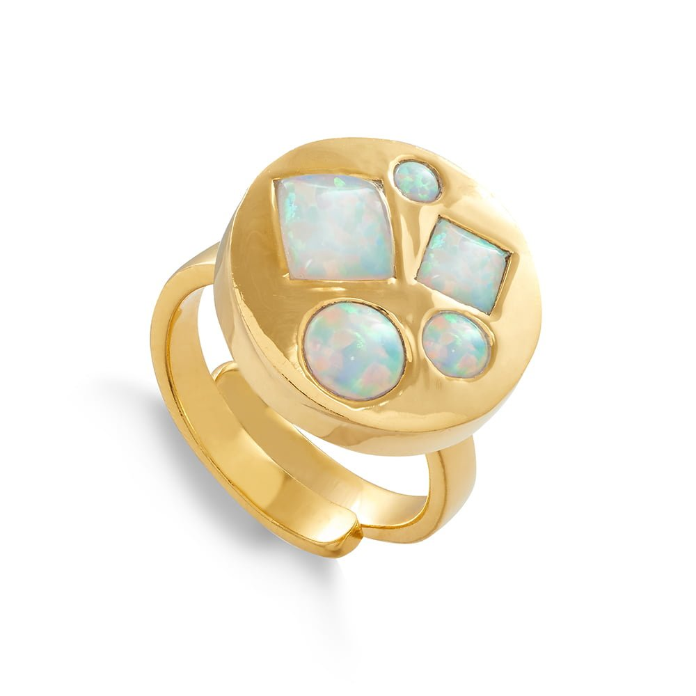 Headlight Disco SVP Adjustable Ring in 18 Carat Gold Vermeil set with lab grown Australian Opals opals