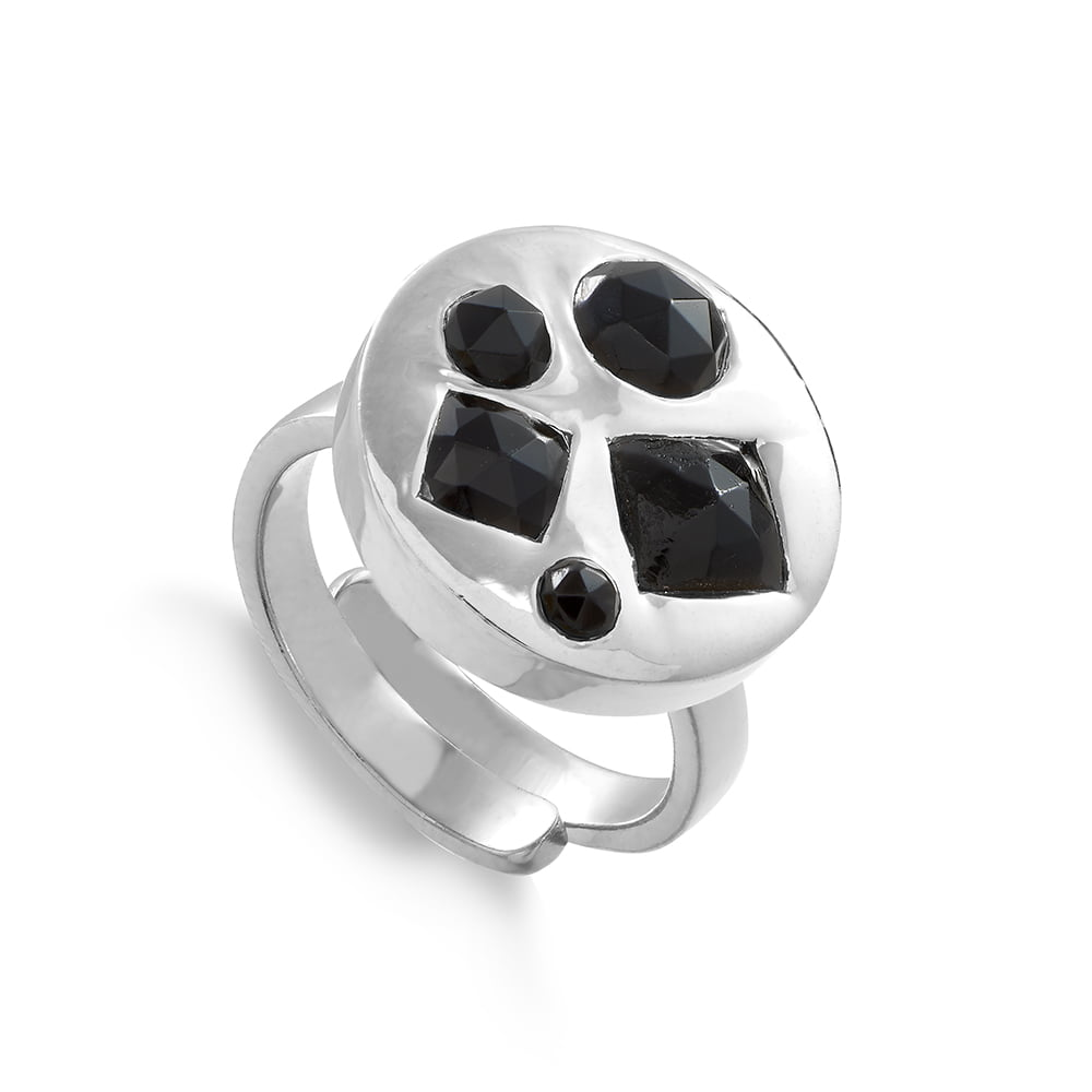 Headlight Disco adjustable ring set with multi black quartz gemstones by SVP Jewellery