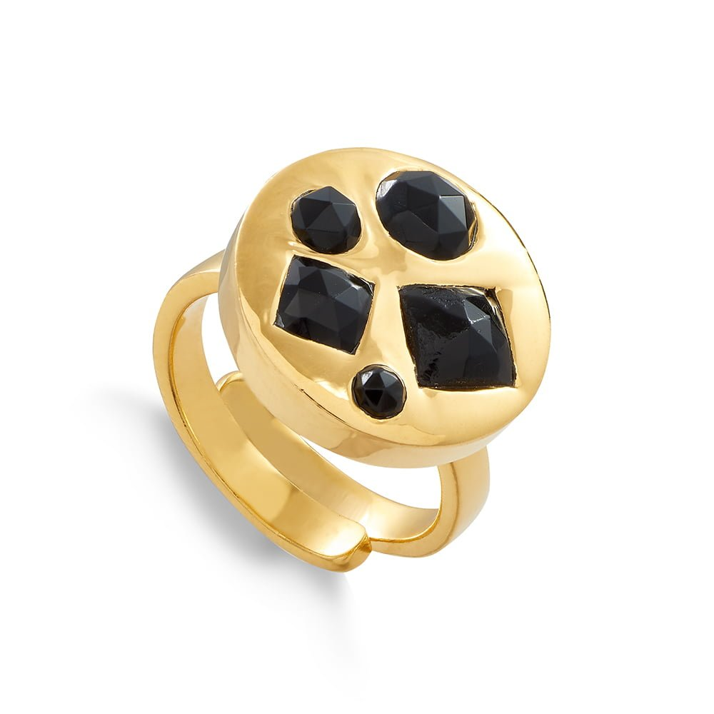 Black Quartz 18 carat gold vermeil HeadlightDisco multi gemstone adjustable ring