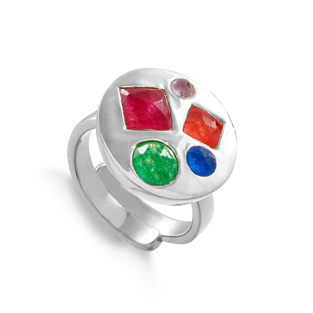 Mixed quartz adjustable ring set on a sterling silver band by SVP Jewellery