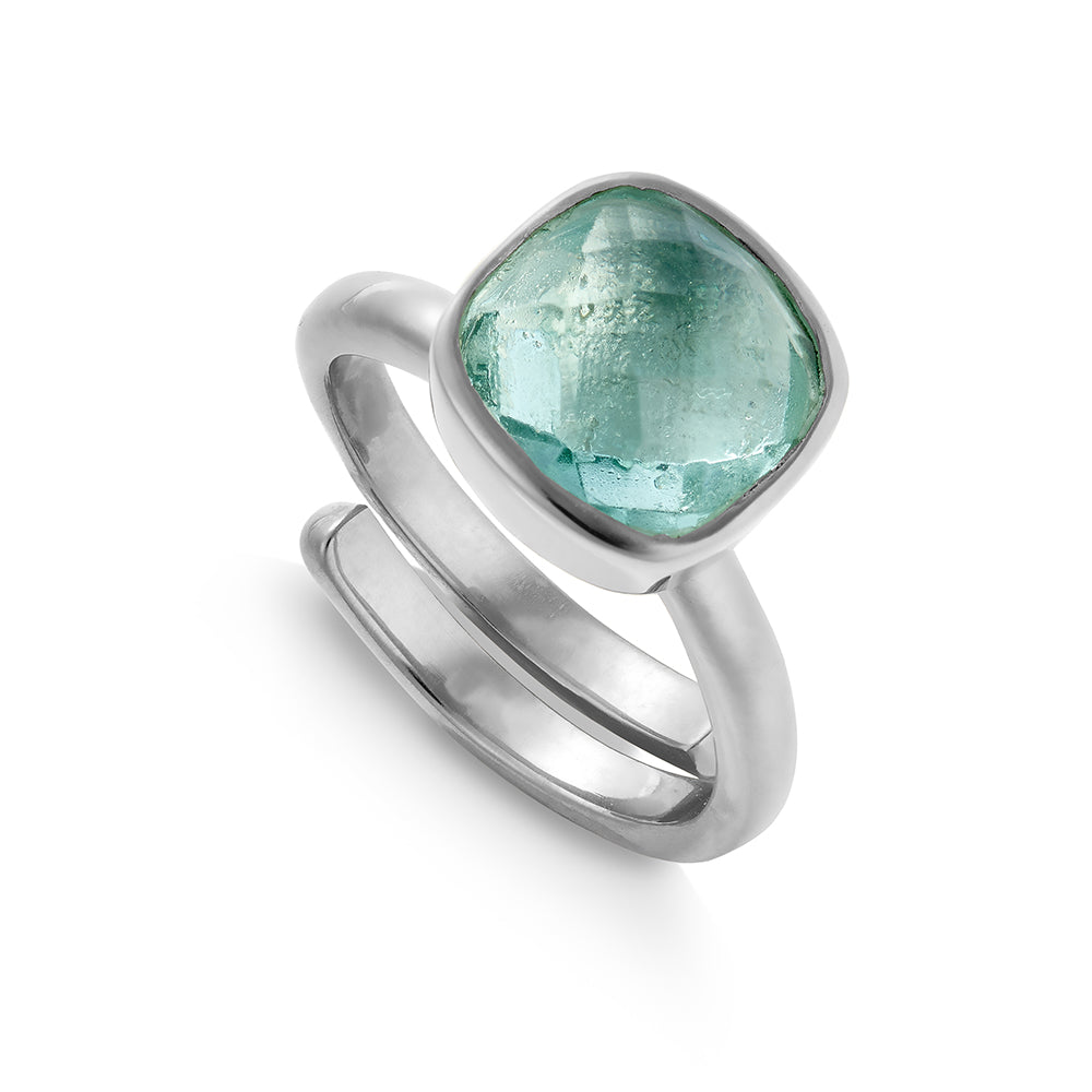 SVP Large Highway Star adjustable ring set with green marine quartz on recycled sterling silver