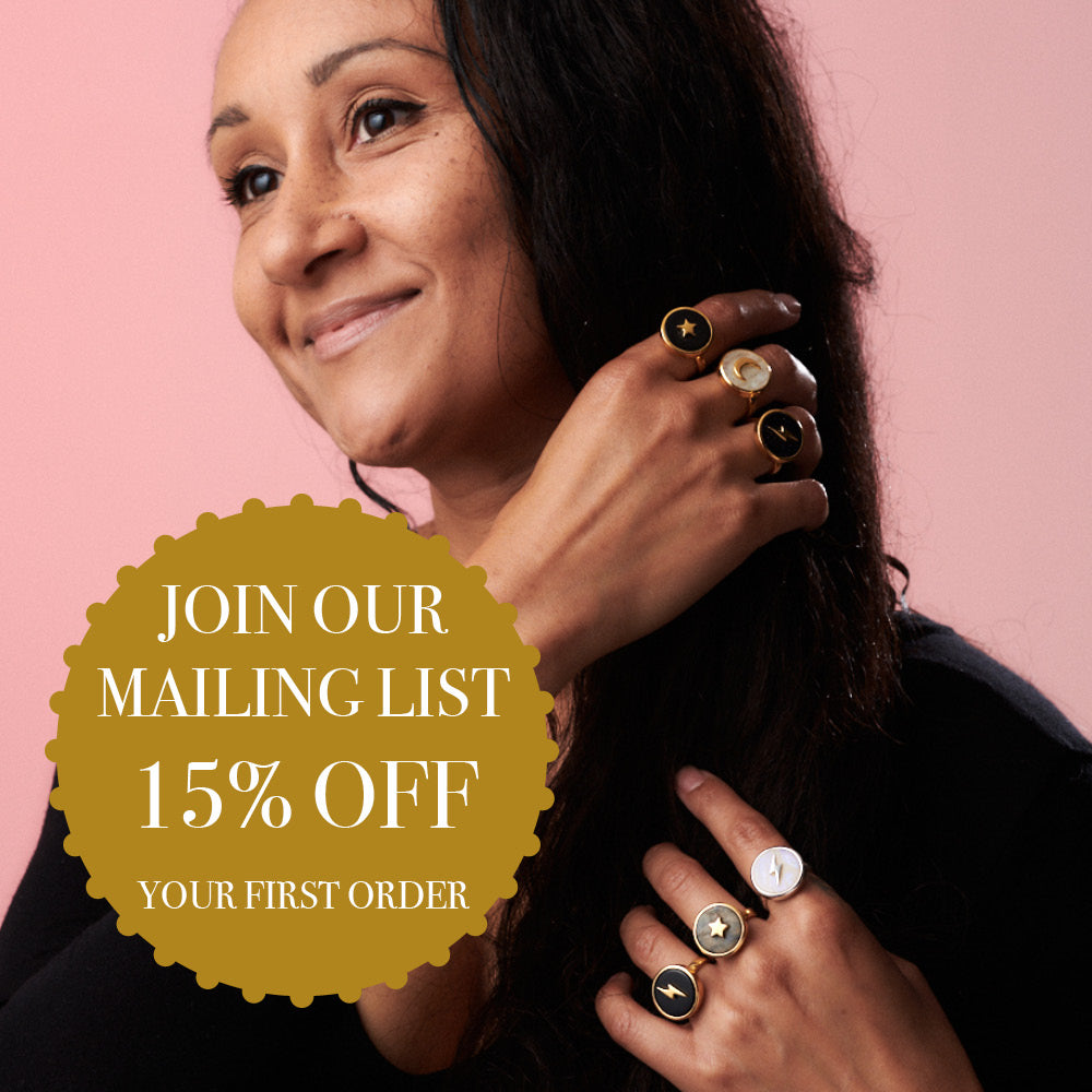 Join our mailing list and get 15% off your first order SVP Jewellery