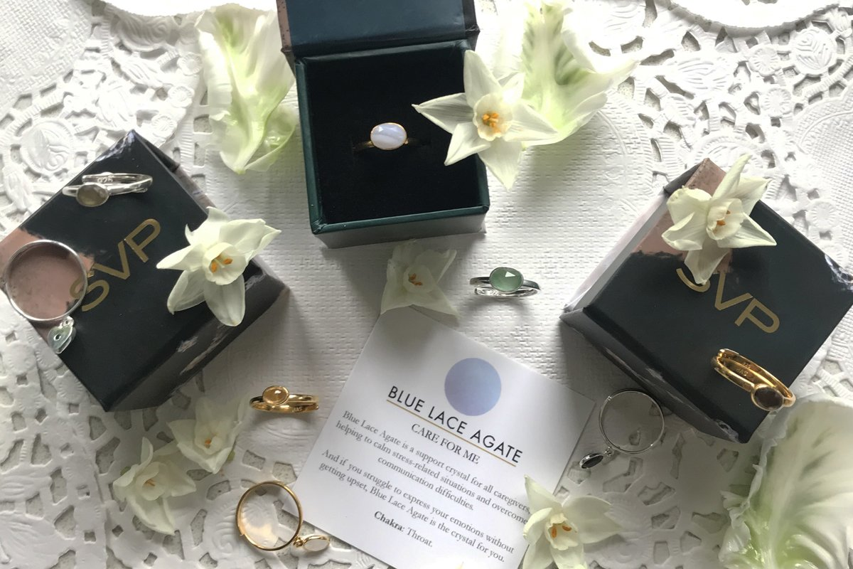 Mothers Day gifts of adjustable rings with crystal meaning from SVP Jewellery